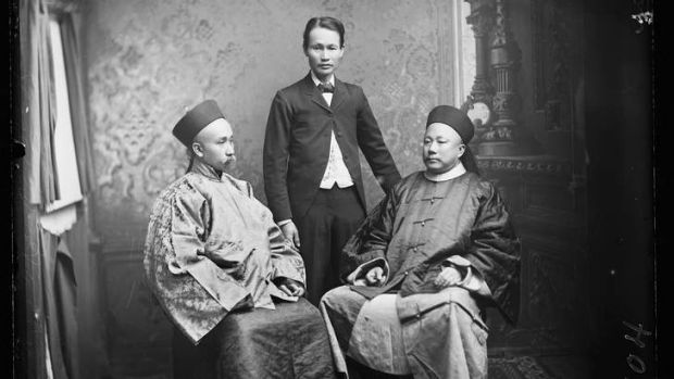 General Wong Yung Ho and Consul-General U Tsing with an unidentified young Chinese male in a western suit.