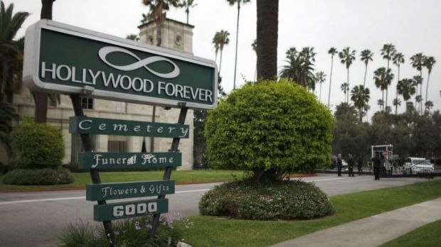 The front gate to the Hollywood Forever cemetery, where a memorial service for fashion designer L'Wren Scott, was held.