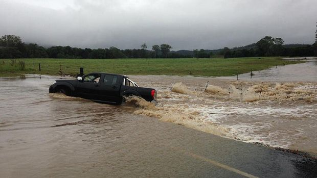 A man was rescued from this car in Gympie.