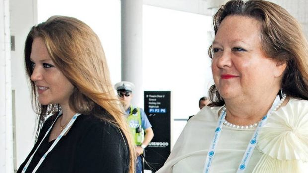 Dead bodyguard: Ginia Rinehart, left, with mother Gina, pictured in Perth in October 2011.
