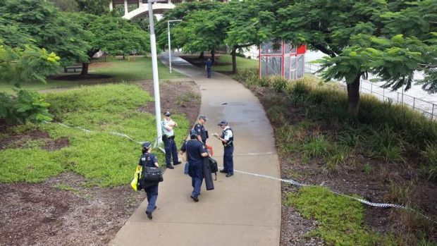 Police at the scene of a suspected murder at South Brisbane.