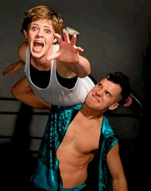 Wrestling comedians Tegan Higginbotham and Dan 'The Hammer' Head.