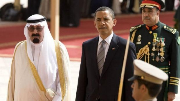 Uneasy alliance: US President Barack Obama is welcomed by King Abdullah of Saudi Arabia in 2009.