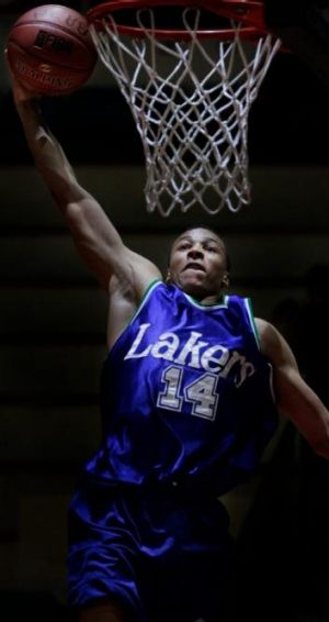 Big leap: Dante Exum starred at last year's national schoolboys titles, now he's hot property in the NBA draft.
