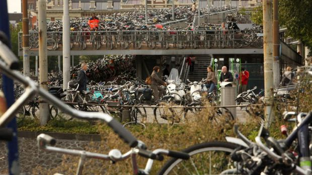 Bike parking stations that can be found in Amsterdam, this one at Central Station.