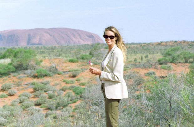 Elle at Uluru in 1998.