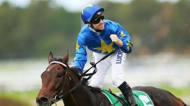 This is my job: Tom Berry scores in the first on Rosehill Guineas day aboard The Offer.