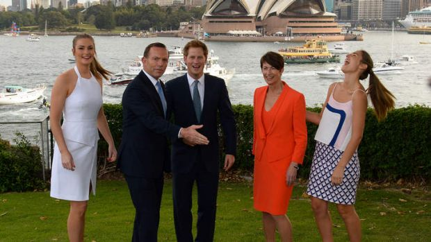 Prime Minister Tony Abbott with Prince Harry, his wife Margie and daughters Bridget, left, and Francis, right at ...