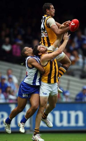 Hawthorn's Lance Franklin crashes into Tim Boyle while going for a mark against North Josh Gibson, April 5  2008.