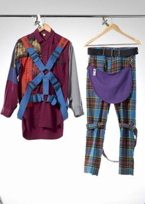Malcolm McLaren and Westwood's Parachute shirt and Bondage trousers.
