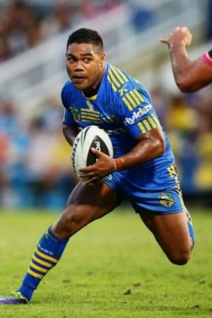 Parramatta halfback Chris Sandow sidesteps as he takes on the Panthers defensive line.