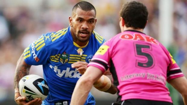 Parramatta's boom second-rower Manu Ma'u lines up Panthers winger David Simmons.
