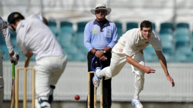Career best: Queanbeyan's Josh Bennett on his way to 6-27 against Wests at Manuka Oval.