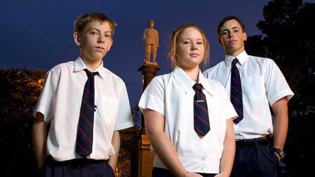 Tributes: Adam Billsborough, Sophie Burdett and Angus Morris from Goondiwindi High School will travel to Gallipoli to ...