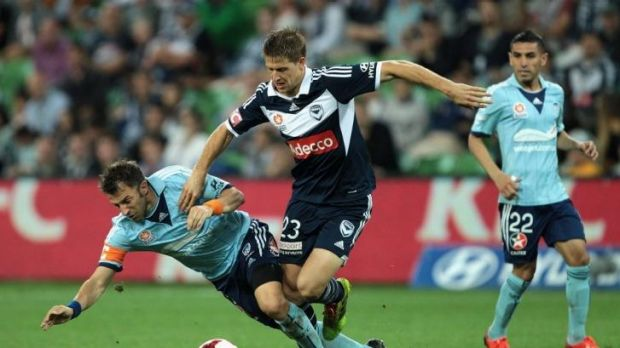 Alessandro Del Piero of Sydney and Adrian Leijer of the Victory contest the ball during the round 25 match at AAMI Park ...