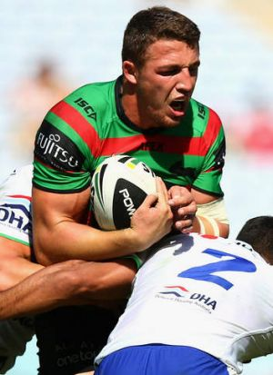 No way through: South Sydney's Sam Burgess struggled to make an impact against the Raiders.