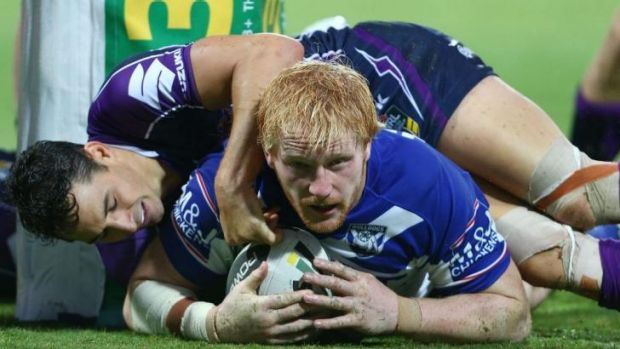 Head knocks: James Graham returned from an earlier knock to score a try for Canterbury in Perth on Saturday night.