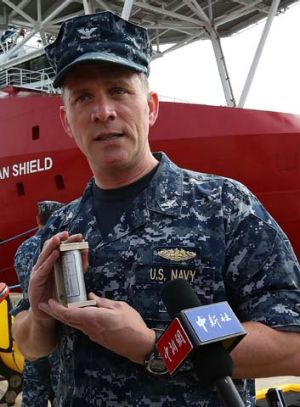 "Search mission: US Navy Captain Mark Matthews with an acoustic ""pinger"", to be used in the hunt for flight MH370's black box."