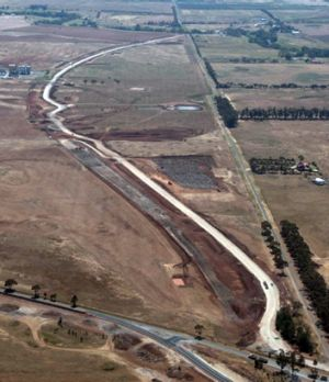 Aerial view of work on Regional Rail Link near Wyndham Vale.