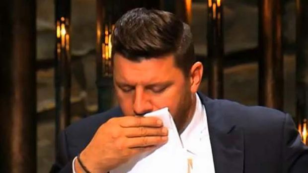 A harsh mouthful: Manu coughs after trying the twins' frangipane tart.