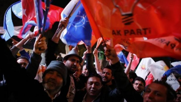 Supporters of the AK Party at the party's headquarters in Ankara.