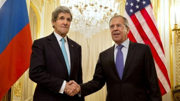 US Secretary of State John Kerry and Russian Foreign Minister Sergei Lavrov in Paris.