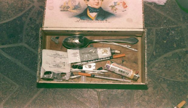 A photo showing Cobain?s heroin kit complete with syringes.