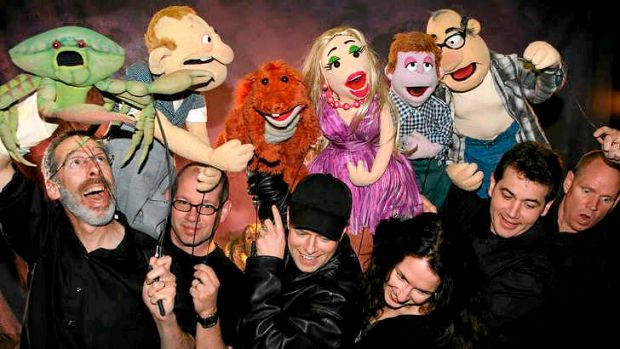 Puppeteers from <i>Puppet Up! </i>with some of the characters.