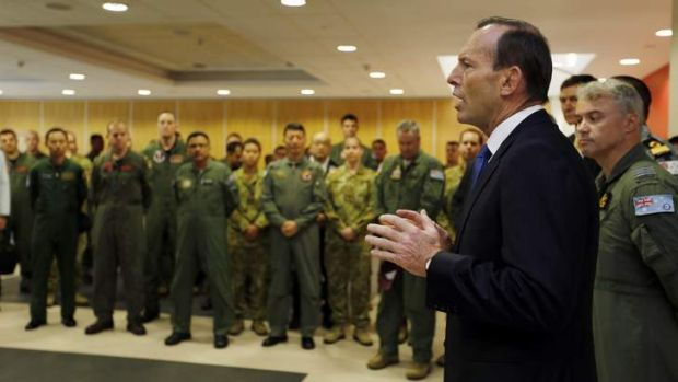 Prime Minister Tony Abbott addresses the international forces currently based in Perth searching for Malaysia Airlines ...