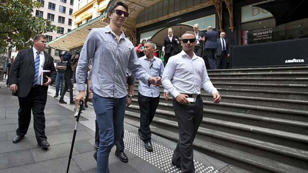 Attacked with a steel bar at a party: Liam Knight leaving court.