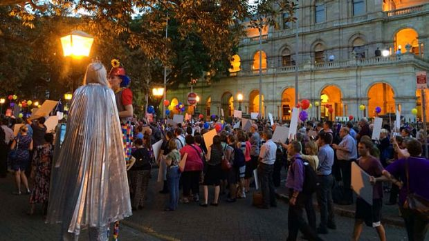 """""""We are not fooled"""" was the battle cry at the April 1 rally against the Newman government outside Parliament House."""