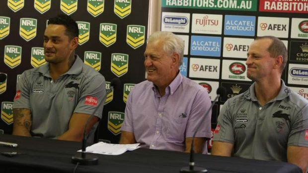 Setting the pace: John Sutton with club  legend Ron Coote and coach Michael Maguire.