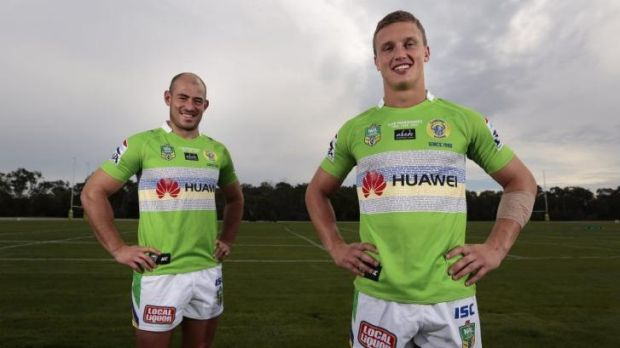 Raiders halves Terry Campese and Jack Wighton show off Canberra's special heritage jersey, whcih they will wear against ...