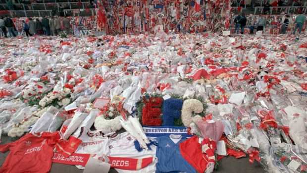Flowers for the fallen: Tribute at Anfield stadium following the tragedy in 1989.