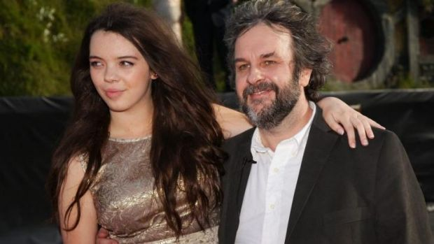 Peter Jackson and his daughter Katie at the 2012 premiere of The Hobbit: An Unexpected Journey.