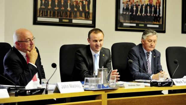 Former ACTEW chairman John Mackay, Treasurer Andrew Barr and former ACTEW chief executive Mark Sullivan at an earlier ...