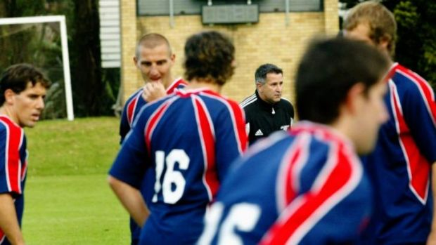 Strong ties: Actor Anthony La Paglia watching Sydney FC players go through their paces at Newington College in 2005.
