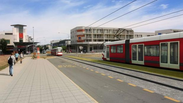 Artist's impression of light rail in Canberra