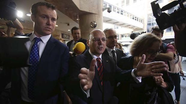 Fronting up: Arthur Sinodinos arrives to give evidence.