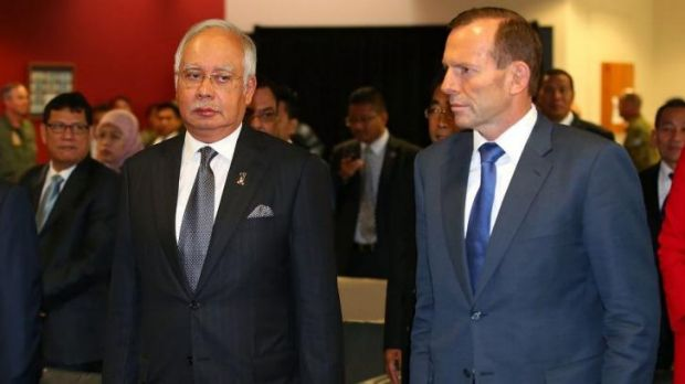 Malaysian Prime Minister Najib Razak and Australian Prime Minister Tony Abbott at the RAAF base in Perth on Thursday.