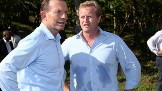NRL CEO Dave Smith (R) with Prime Minister Tony Abbott.