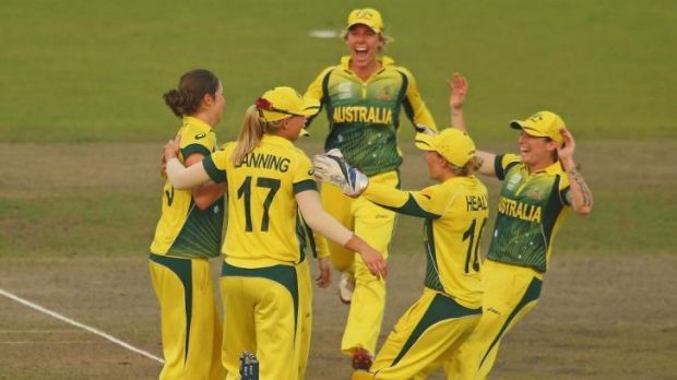 The Australians celebrate their win over the West Indies.