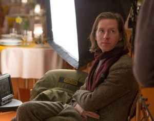 Wes Anderson on set.