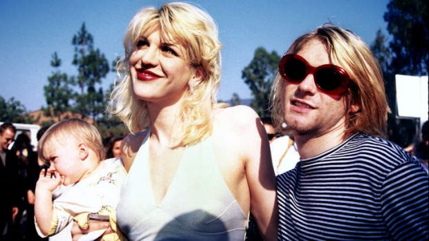 Sunny times: Courtney Love and Kurt Cobain with their daughter Frances Bean Cobain at the MTV awards in September 1993, ...