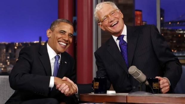 Saying goodbye ... talk show host David Letterman has shaken the hands of presidents on his show.