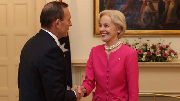 Prime Minister Tony Abbott with Quentin Bryce.