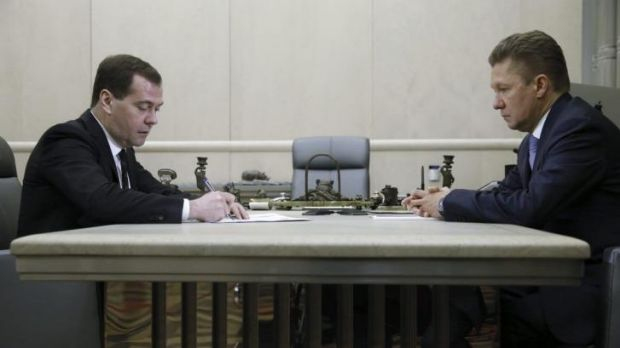 Russia's Prime Minister Dmitry Medvedev meets with Gazprom boss Alexey Miller in Moscow.
