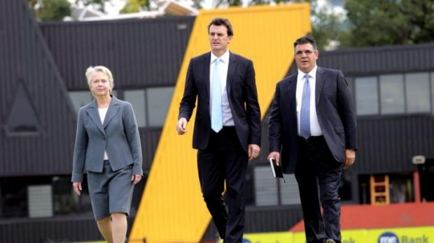 Peggy O'Neal, Brendon Gale and Andrew Demetriou on Friday.