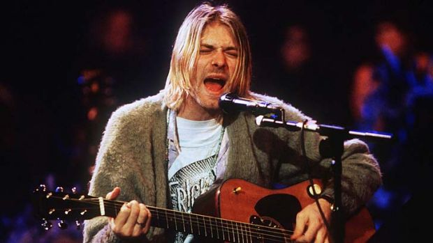 Kurt Cobain of Nirvana during the taping of <i>MTV Unplugged</i>, 1993.