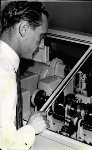 Arthur Midgely, chief technician of the speaking clock, in 1960.